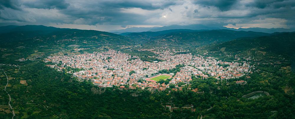 Aerial view of Edessa, Greece