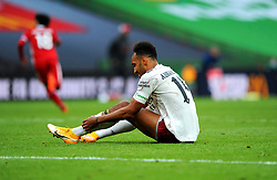 Pierre-Emerick Aubameyang of Arsenal is brought down by Naby Keita of Liverpool- Mandatory by-line: Nizaam Jones/JMP - 29/08/2020 - FOOTBALL - Wembley Stadium - London, England - Arsenal v Liverpool - FA Community Shield