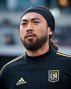 LAFC midfielder Lee Nguyen (24) before a MLS soccer match against the Sporting KC in Los Angeles, Sunday, March 3, 2019. LAFC defeated Sporting KC, 2-1. (Ed Ruvalcaba/Image of Sport)