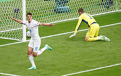 Czech Republic's Patrik Schick celebrates scoring their side's first goal of the game during the UEFA Euro 2020 Group D match at Hampden Park, Glasgow. Picture date: Monday June 14, 2021.