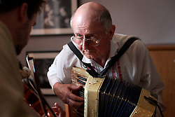CZECH REPUBLIC MORAVIA BANOV 2APR18 - Portrait of Jiri Chovanec during Easter celebrations with folklore musicians as  they wander on their round through the village of Banov, Moravia. <br /> <br /> jre/Photo by Jiri Rezac<br /> <br /> © Jiri Rezac 2017