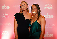 Maria Sharapova of Russia & Madison Keys of the United States on the purple carpet at the 2018 Evian I Wanna Party. New York, USA. August 23th 2018.