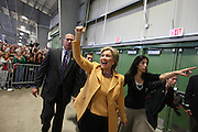 Senator Hillary Clinton talks to the crowd at a rally at the Richard M. Borchard Regional Fairgrounds in Robstown, outside of Corpus Christi, Wednesday February 13, 2008.