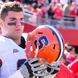 Oct 13, 2012: Syracuse Orange offensive tackle Justin Pugh (67) takes the field as a captain for NCAA Big East college football action between the Rutgers Scarlet Knights and Syracuse Orange at High Point Solutions Stadium in Piscataway, N.J.