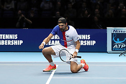 Poland's Lukasz Kubot celebrates winning his doubles match during day two of the NITTO ATP World Tour Finals at the O2 Arena, London.