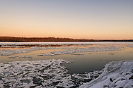 The Tanana River begins to freeze as ice floes move down river near Nenana, Alaska on November 4, 2019.