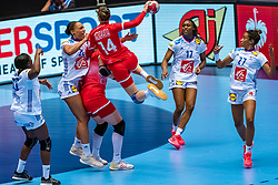 Beatrice Edwige of France, Polina Vedekhina of Russia, Siraba Dembele Pavlovic of France, Estelle Nze Minko of France in action during the Women's EHF Euro 2020 match between France and Russia at Jyske Bank BOXEN on december 11, 2020 in Kolding, Denmark (Photo by RHF Agency/Ronald Hoogendoorn)