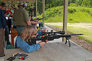 Rifle shooting at a gun range