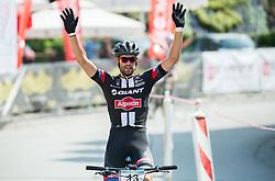 Luka Mezgec celebrates during Cross Country XC Mountain bike race for Slovenian National Championship in Kamnik, on July 12, 2015 in Kamnik,  Slovenia. Photo by Vid Ponikvar / Sportida