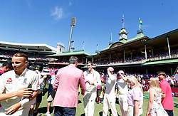 England's players shake hands with Glenn Mcgrath in support of the Mcgrath Foundation during day two of the Ashes Test match at Sydney Cricket Ground.