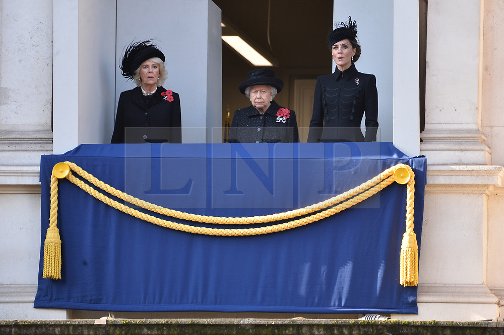 © Licensed to London News Pictures. 10/11/2019. London, UK. Camilla, Duchess of Cornwall, Queen Elizabeth II and Catherine, Duchess of Cambridge attend the annual remembrance ceremony marking the 101st anniversary of the end of the First World War. Photo credit: Ray Tang/LNP