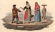 The Fishmonger'.  Housewives in Naples, Italy, bargaining over the price of  fresh fish.  In the background fishermen are at work hauling their nets.  Hand coloured lithograph from 'Italian Scenery, Manners and Customs' by Buon Airetti (London, 1806).