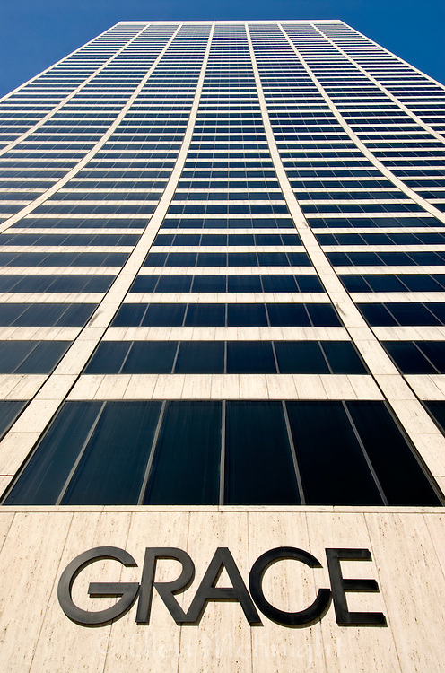 The W.R. Grace Building is a 50 story building in Manhattan which was completed in 1971. Its outstanding feature is its concave vertical slope. It was designed by Gordon Bunshaft who also created the similarly shaped Solow Building on 57th Street.