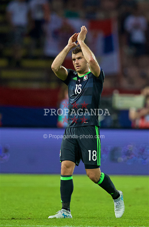 BELGRADE, SERBIA - Sunday, June 11, 2017: Wales' Sam Vokes applauds the supporters as he is substituted during the 2018 FIFA World Cup Qualifying Group D match between Wales and Serbia at the Red Star Stadium. (Pic by David Rawcliffe/Propaganda)