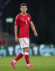 Debutanten Joakim Mæhle (Danmark) under UEFA Nations League kampen mellem Danmark og Belgien den 5. september 2020 i Parken, København (Foto: Claus Birch).