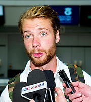 29/07/14   <br /> GLASGOW AIRPORT<br /> New Celtic signing Jo Inge Berget speaks to the media at Glasgow Airport