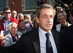 Former French president and candidate for the right-wing Les Republicains (LR) party primary ahead of the 2017 presidential election, Nicolas Sarkozy leaves the town hall after a roundtable on the migrants crisis in Calais, Northern France, September 21, 2016. Photo by Kristina Afanasyeva/ABACAPRESS.COM