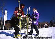 Poconos, Young Adult Couple Skiing, NE PA