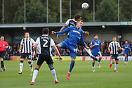 AFC Wimbledon striker Joe Pigott (39) battles for possession, header during the EFL Sky Bet League 1 match between AFC Wimbledon and Gillingham at the Cherry Red Records Stadium, Kingston, England on 23 March 2019.