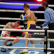Gennady Golovkin of Khazakhstan knocks down Kamil Szeremeta of Poland during the IBF middleweight world title fight at the Seminole Hard Rock Hotel and Casino in Hollywood, Florida USA on 18, Dec 2020. Photo: Alex Menendez