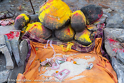 Improvised altar in Muktinath on Motorcycle Sherpa's Ride to the Heavens motorcycle adventure in the Himalayas of Nepal. On the fourth day of riding, we went from Kalopani to Muktinath. Thursday, November 7, 2019. Photography ©2019 Michael Lichter.