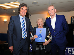 High Spec Property Services wins 3rd place in the 1883 Sponsors draw for naming rights to the North Terrace  presented by Barry Bradshaw (Director of Bristol Rovers) and Mike Norton (Post Editor)  - Photo mandatory by-line: Dougie Allward/JMP - Mobile: 07966 386802 - 17/04/2015 - SPORT - Football - Bristol - Memorial Stadium