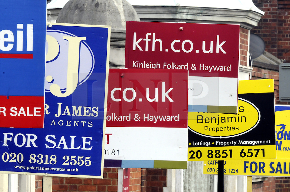 © Licensed to London News Pictures. File pic 20/06/11. London, UK.  British house prices are rising at their fastest pace in seven years, according to an industry survey. Pictured - Property 'For Sale' signs and boards around North West London. Photo credit : Grant Falvey/LNP
