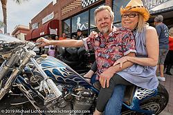 Two-Wheelers' Arlin Fatland and Donna Maupin on Main Street during Daytona Beach Bike Week, FL. USA. Friday, March 15, 2019. Photography ©2019 Michael Lichter.