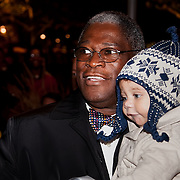 Mayor Sly James of Kansas City Missouri with his grandson at the Mayor's Christmas Tree Lighting, Nov. 25, 2011.