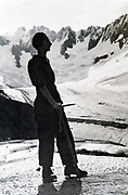 at La Tour Ronde posing with the glacier de la Brenva in the Alps 1934