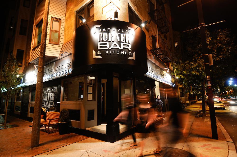 Darryls Corner Bar in Boston at night.