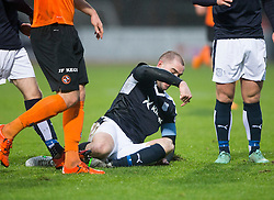 Dundee's James McPake tackles Dundee United's John Rankin and gets stretchered off. <br /> Half time : Dundee 1 v 1  Dundee United, SPFL Ladbrokes Premiership game played 2/1/2016 at Dens Park.