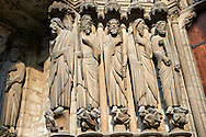 Medieval Gothic Sculptures of the South portal  of the Cathedral of Chartres, France. A UNESCO World Heritage Site. . .<br /> <br /> Visit our MEDIEVAL ART PHOTO COLLECTIONS for more   photos  to download or buy as prints https://funkystock.photoshelter.com/gallery-collection/Medieval-Middle-Ages-Art-Artefacts-Antiquities-Pictures-Images-of/C0000YpKXiAHnG2k