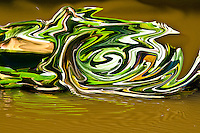 abstract green vortex with white shades on brown background