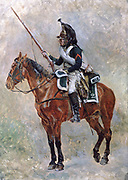 Mounted Dragoon.  Jean Loouis Ernest Meissonier (1815-1891) French academic painter.   French Soldier Uniform Equipment Firearm Sword Helmet Horse Bay