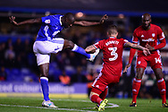 Cheikh Ndoye of Birmingham city (l)  in action .EFL Skybet championship match, Birmingham city v Cardiff city at St.Andrew's stadium in Birmingham, the Midlands on Friday 13th October 2017.<br /> pic by Bradley Collyer, Andrew Orchard sports photography.
