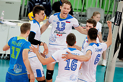 Slovenian palyers celebrate point during volleyball match between National teams of Slovenia and Poland in 4th Qualification game of CEV European Championship 2015 on May 23, 2014 in Arena Stozice, Ljubljana, Slovenia. Photo by Urban Urbanc / Sportida