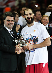 © Licensed to London News Pictures. 12/05/2013. London, UK.  Vassilis Spanoulis  of Real Madrid collects  the trophy for Most Valued Player (MVP) after winning the accolade after his team Olympiacos Piraeus play and beat Real Madrid in the Final of the Euroleague Basketball Final Four at The O2 Arena.   The Turkish Airlines Euroleague, commonly known as the Euroleague, is the highest level tier and most important professional club basketball competition in Europe, with teams from up to 18 different countries, members of FIBA Europe. Photo credit : Richard Isaac/LNP