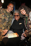 29 October 2010- Harlem, New York- Ntozake Shange, Playwright and Poet, Dr. Sonia Sanchez, Poet, and Dr. Maya Angelou backstage at The Acquisition of the Maya Angelou Collection of Personal Papers and Materials Documenting 40 years of the Writer's Literary Career held at the Schomburg Center on October 29, 2010 in Harlem, USA. Photo Credit: Terrence Jennings