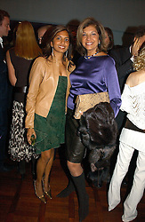 Left to right, DIVIA CADBURY and her mother VIMLA LALVANI at a party to celebrate the publication of 'The year of Eating Dangerously' by Tom Parker Bowles held at Kensington Place, 201 Kensington Church Street, London on 12th october 2006.<br />