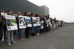 April 3, 2017 - Tielt, BELGIUM - Illustration picture shows a protest of animal Rights organization 'Animal Rights' at the slaughterhouse in Tielt, Monday 03 April 2017. Two weeks ago Animal Rights leaked a video of mistreatment of animals in the slaughterhouse...BELGA PHOTO KURT DESPLENTER (Credit Image: © Kurt Desplenter/Belga via ZUMA Press)