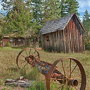 Wagon Axle Wooden Shacks - Golden, Oregon - HDR