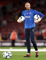 """Brighton & Hove Albion goalkeeper David Button during the Premier League match at St Mary's, Southampton. PRESS ASSOCIATION Photo. Picture date: Monday September 17, 2018. See PA story SOCCER Southampton. Photo credit should read: John Walton/PA Wire. RESTRICTIONS: EDITORIAL USE ONLY No use with unauthorised audio, video, data, fixture lists, club/league logos or """"live"""" services. Online in-match use limited to 120 images, no video emulation. No use in betting, games or single club/league/player publications."""