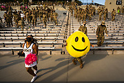Army Cadets do the cha-cha-slide during a non conference game between The Citadel and Army at Michie Stadium in West Point, New York on Saturday, October 10, 2020.