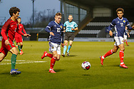 Kai Kennedy (Rangers FC) gets the ball in the Portugal penalty area during the U17 European Championships match between Portugal and Scotland at Simple Digital Arena, Paisley, Scotland on 20 March 2019.