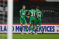 Football - 2020 / 2021 Sky Bet Championship - AFC Bournemouth vs. Preston North End - The Vitality Stadium<br /> <br /> Tom Barkhuizen of Preston celebrates his goal with Scott Sinclair and Sean Maguire during the Championship match at the Vitality Stadium (Dean Court) Bournemouth <br /> <br /> COLORSPORT/SHAUN BOGGUST
