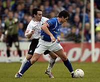 Photo: Olly Greenwood/Sportsbeat Images.<br />Billericay Town v Swansea City. The FA Cup. 10/11/2007. Billericay 's Paul Abbot and Swansea's Leon Britton