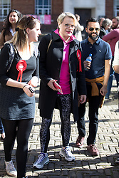 © Licensed to London News Pictures. 03/05/2018. London, UK. Stand up comedian and Labour NEC member EDDIE IZZARD (centre) seen outside Pimlico Tube Station as part of 'Unseat Westminster Tory Council'. The gathering was arranged to round up volunteers to speak to Westminster residents who said they would vote for labour. Photo credit : Tom Nicholson/LNP