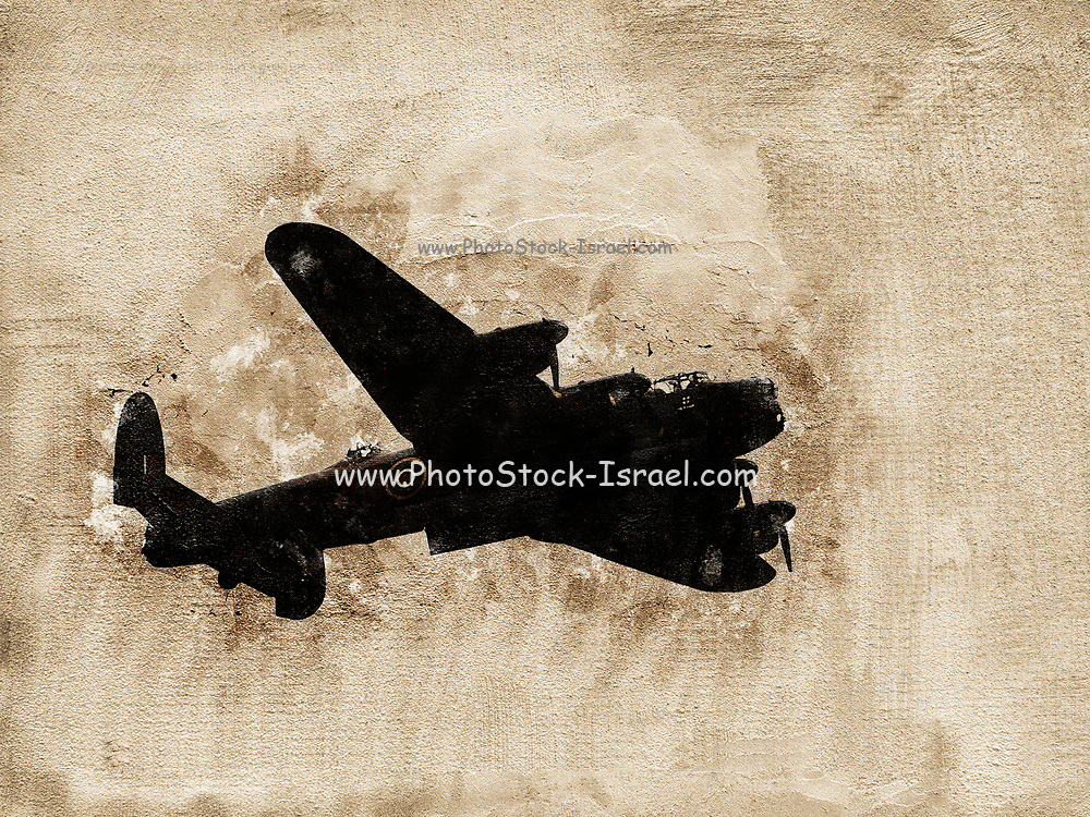 Digitally enhanced image of an Avro Lancaster bomber. A British four-engined  Second World War heavy bomber.