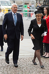 © Licensed to London News Pictures. 20/06/2019. London, UK. Lord John Major and Dame Norma Major attend a Service of Thanksgiving for Lord Haywood at Westminster Abbey. Jeremy Heywood served as Cabinet Secretary from 2012 and Head of the Home Civil Service until shortly before his death in 2018. Photo credit: Ray Tang/LNP